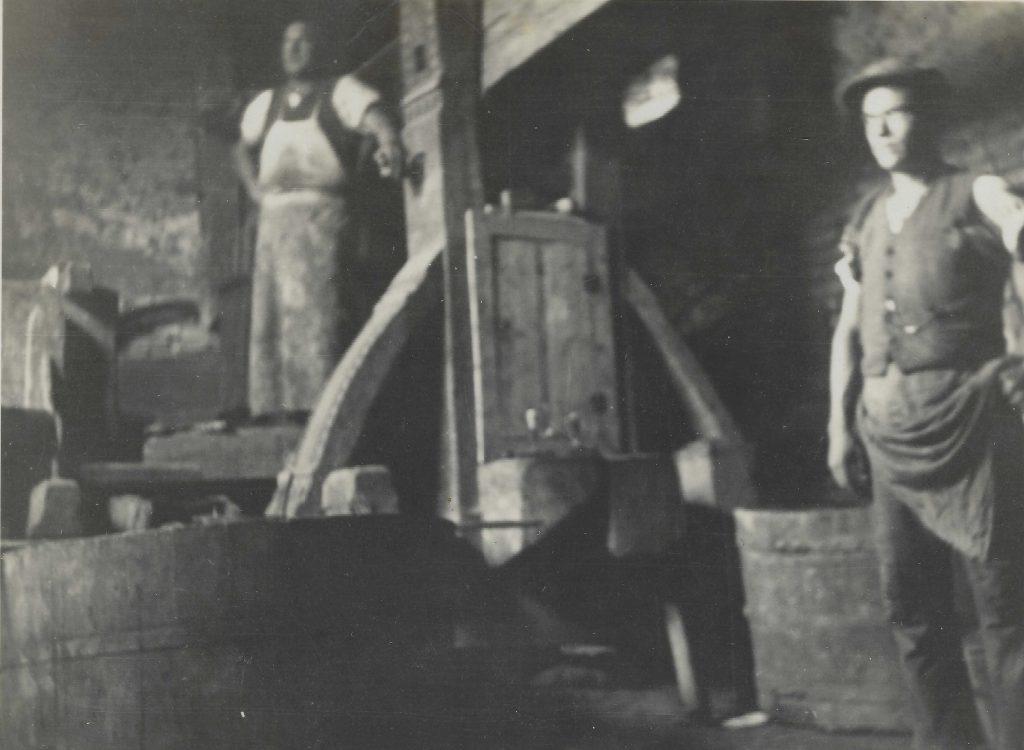 Schwarz-Weiß-Foto von der Baumpresse