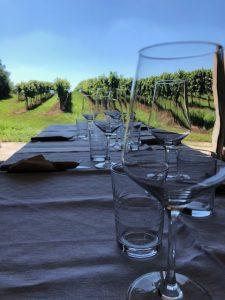 Gedeckter Tisch inmitten der Weinberge