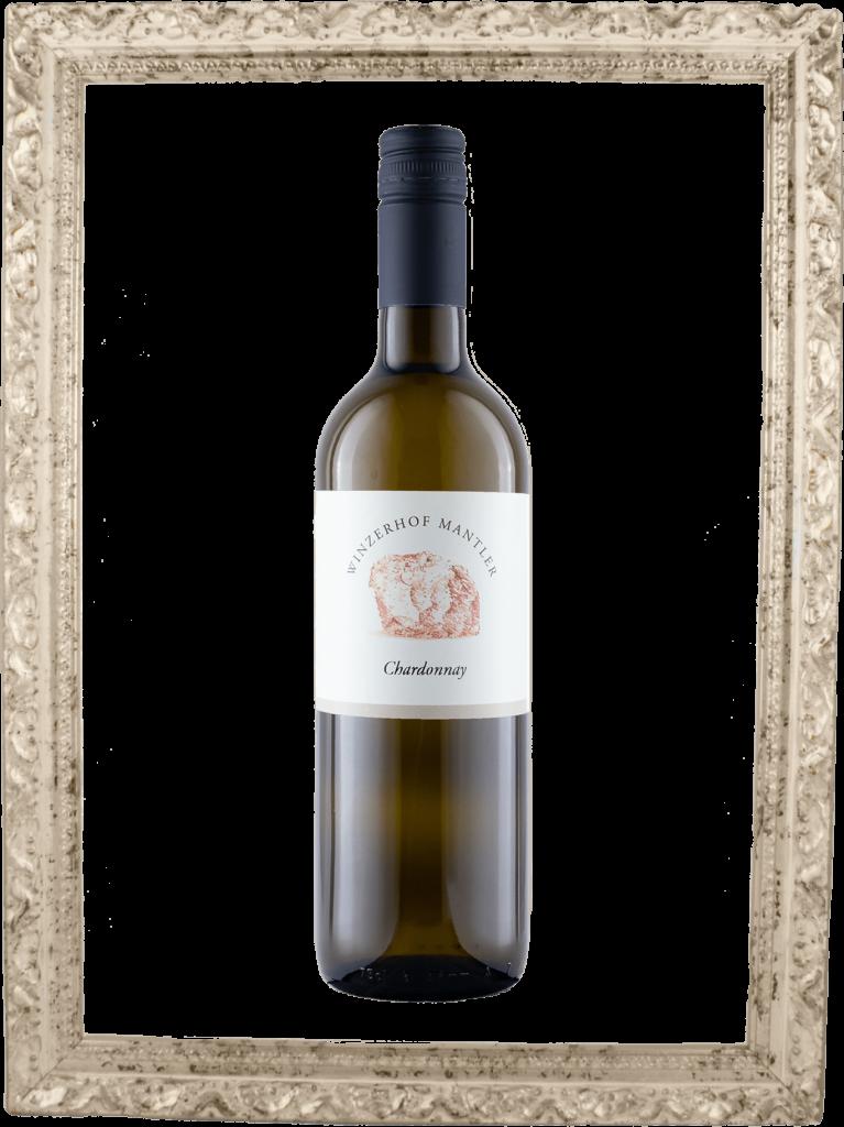 Chardonnay Flasche im Bilderrahmen